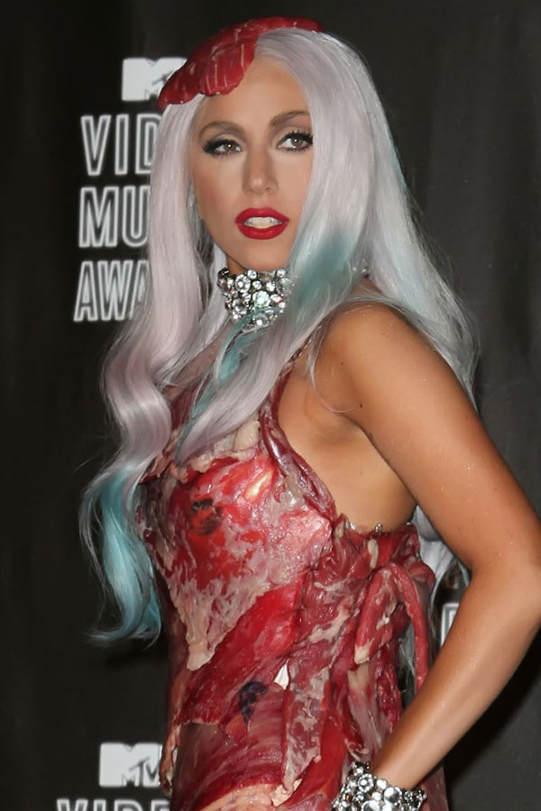 lady gaga meat dresses. lady-gaga-meat-dress-1