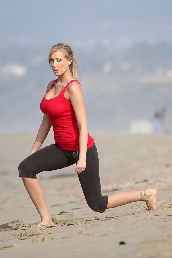 check out jenna bentley stretching out on the beach she really knows